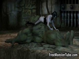 3 डी Orc Dildo पर एक पट्टा के साथ एक लड़की द्वारा गड़बड़ हो रही है