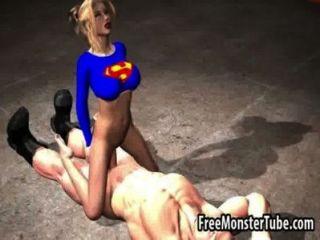 गर्म 3 डी कार्टून Superwoman मुर्गा बेकार है और Fuckedmsoopergirl उच्च हो जाता है 2