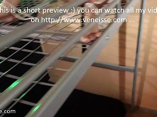 Veneisse बीडीएसएम पिंजरे में बंधे यातना और डबल Fisting