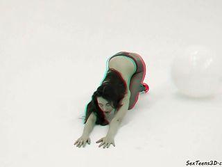 किशोर लड़की स्टूडियो में प्रस्तुत - 3 डी पोर्न मंच के पीछे
