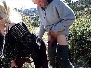 खतरनाक Dogging में छलनी Fellatrix