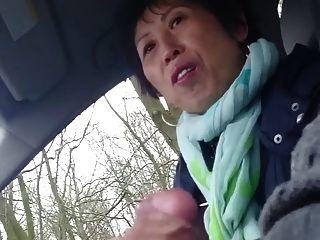 घर का बना, पुराने चीनी महिला कार में मुर्गा Wanks