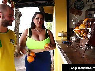 Phat गधा क्यूबा एंजेलीना अरंडी बिल्ली एक सींग का आदमी द्वारा टक्कर लगी है!