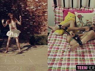 Teenfidelity स्कीनी किशोर Ava बाउंड और Creampied